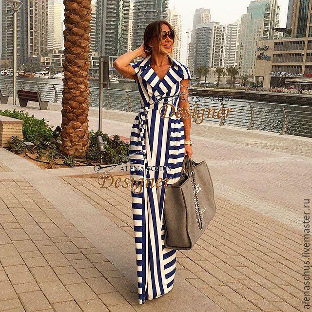 Купить Платье длинное на запах - белый, в полоску, Платье нарядное, платье  вечернее, длинное платье d4cf6b83c37