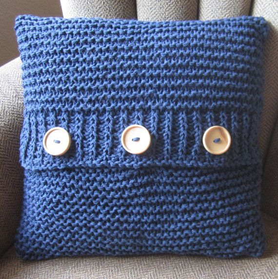 Knitting Pillow Cover : Denim delight cotton hand knit cushion cover i want to