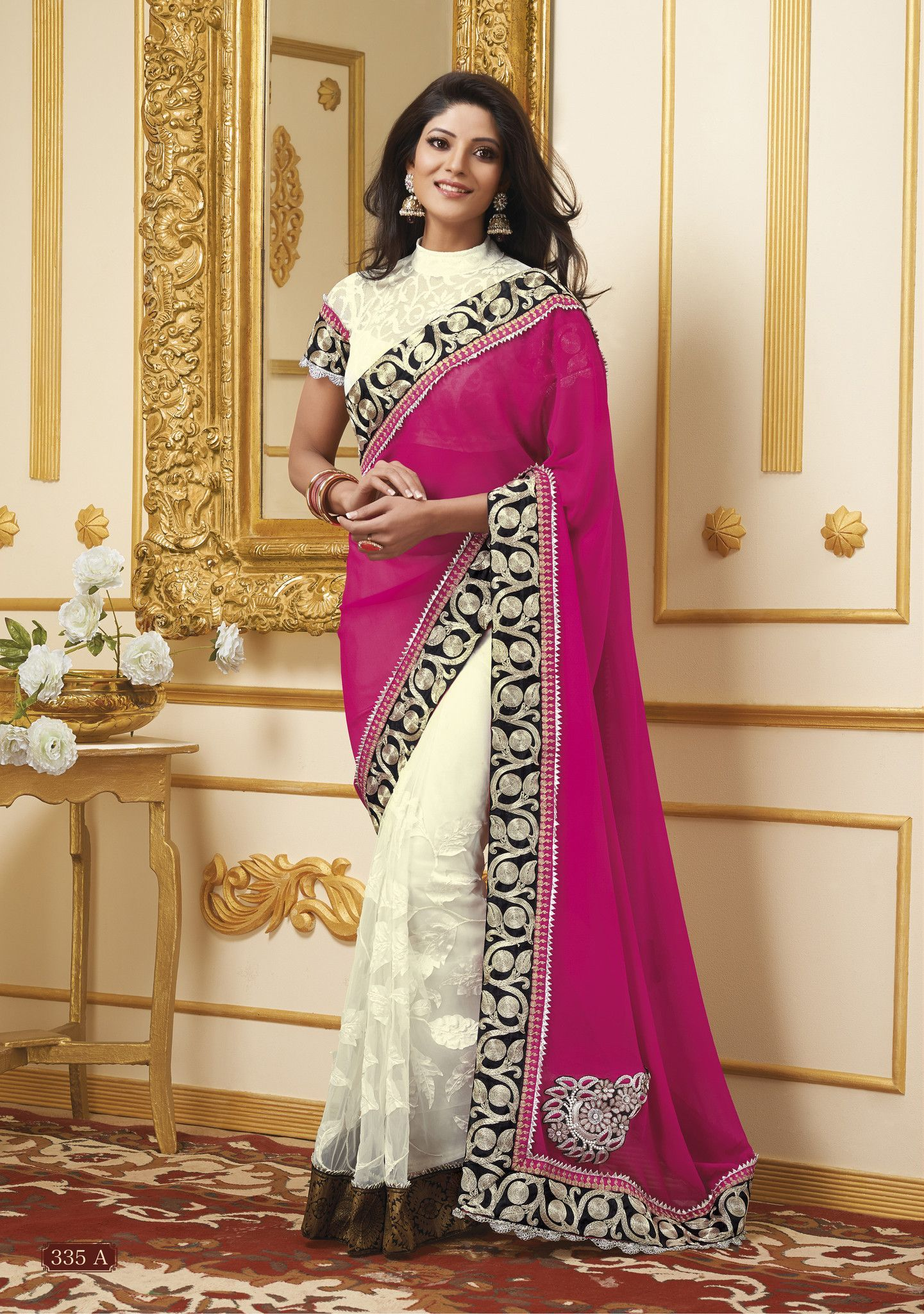 Off saree model images wondrous pink n off white embroidered saree  products  pinterest