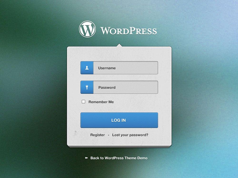 Cool Wordpress Login Screen Free PSD File. Download Wordpress ...