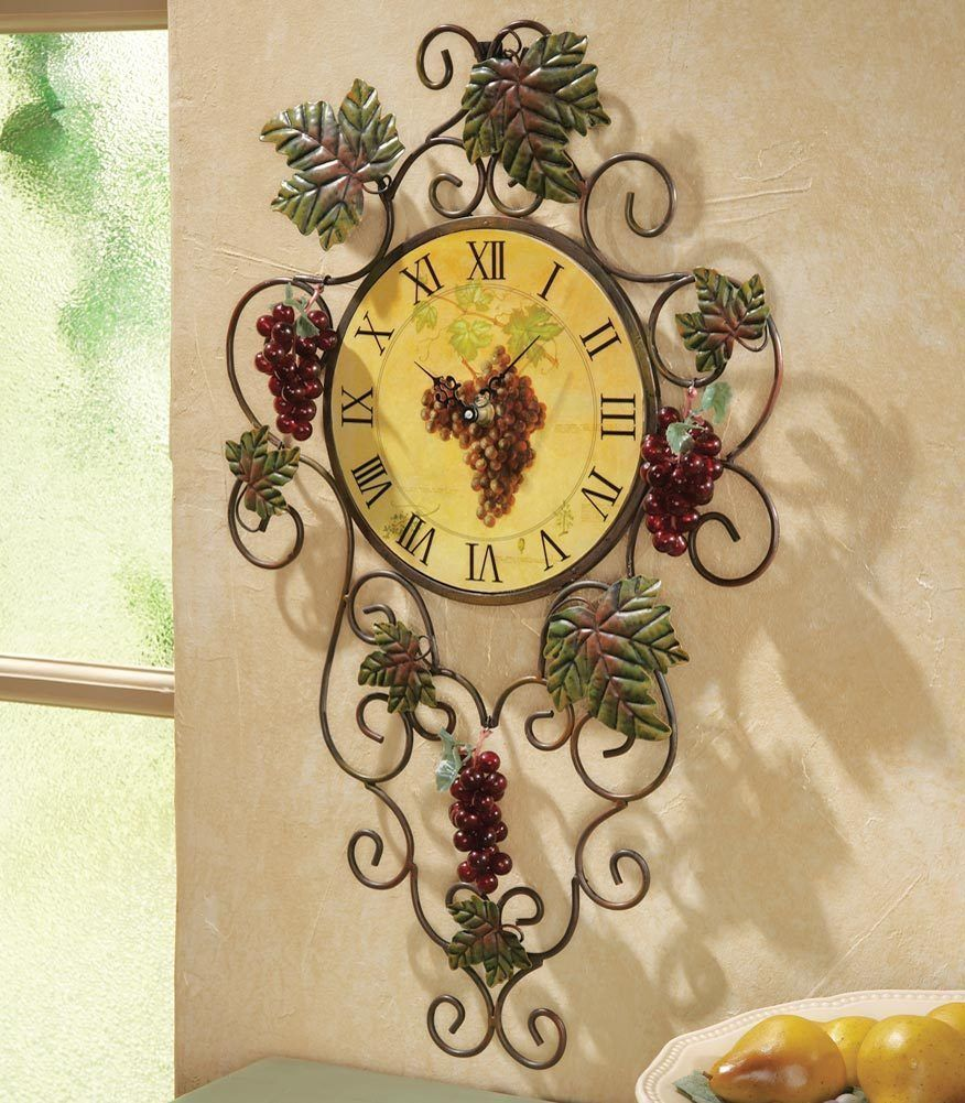 3D Vineyard Metal Kitchen Grape Vine Wall Clock Decor Art Vintage ...