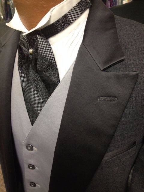 vintage '#80s grey tuxedo tailcoat with vest and ascot tie 40 regular  bargain from