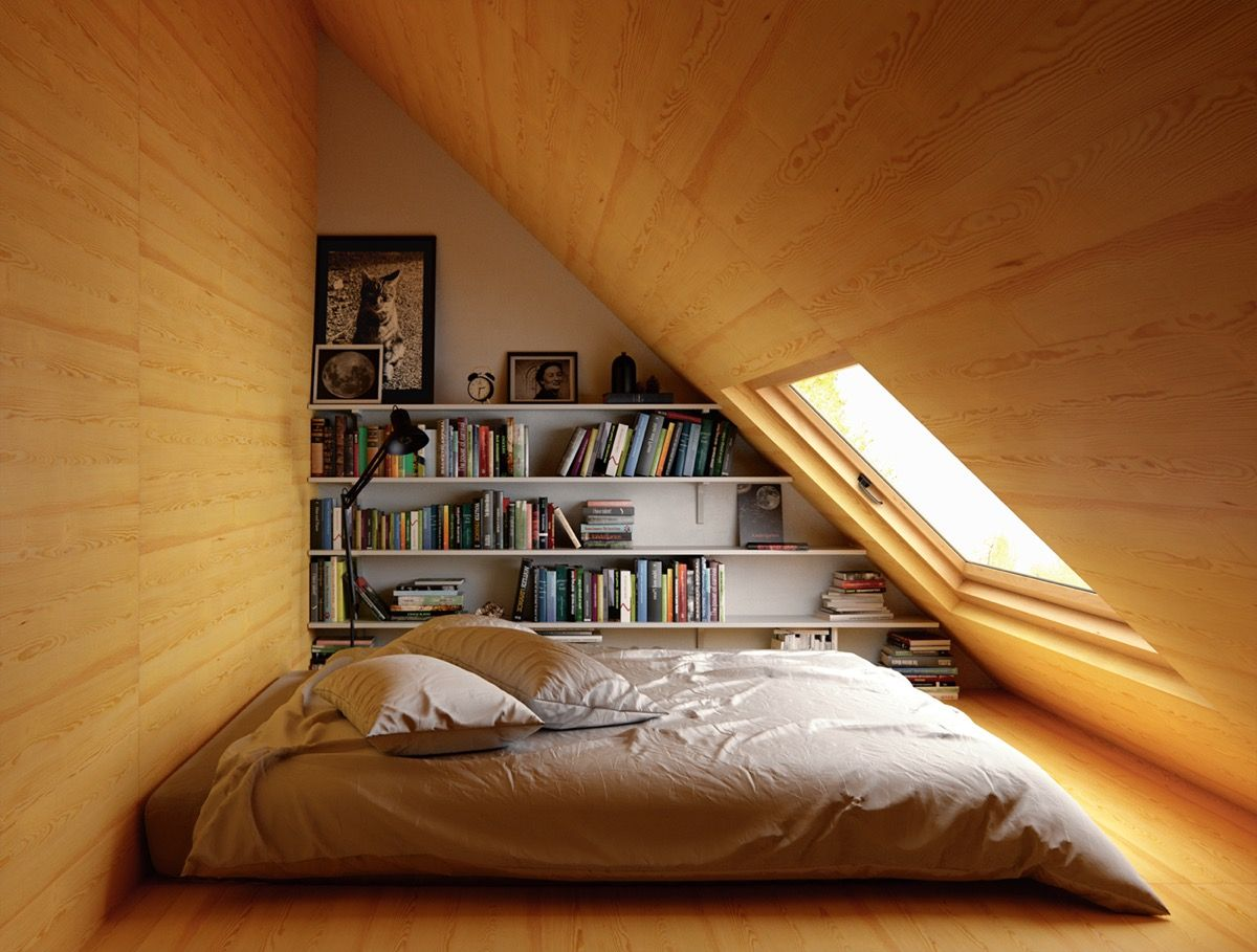 Kuscheliges Schlafzimmer mit Holzverkleidung an den Wänden   Gestaltung Schlafzimmer   Inspiration Schlafzimmer   Home Decor Bedroom