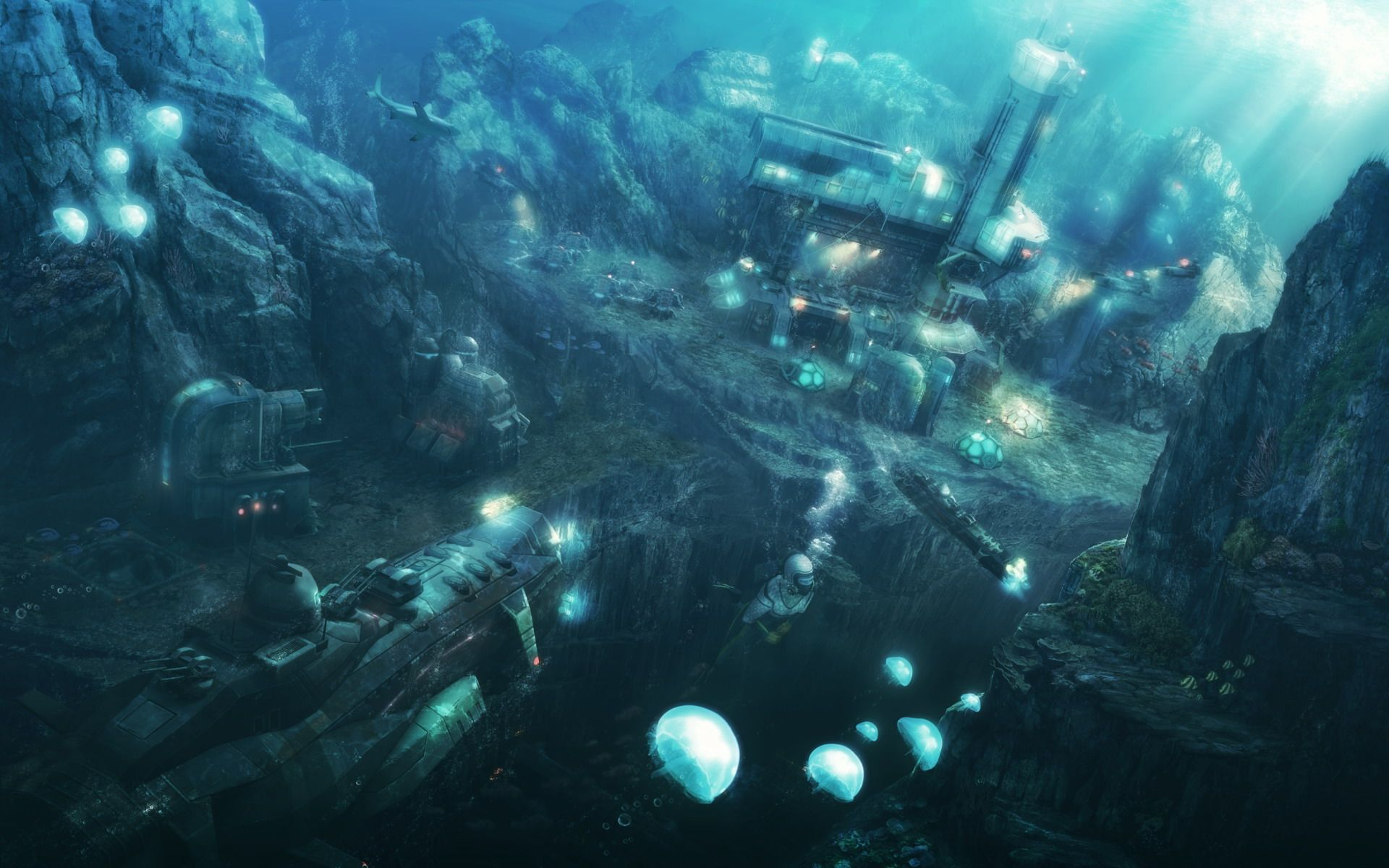 Scifi Submarines Fi Sci Underwater City Underwater City Futuristic Vehicles Ships Environment Concept Art