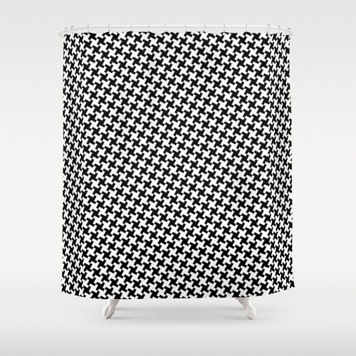 Houndstooth Shower Curtain Black And White Bathroom By ShowerHead 7900