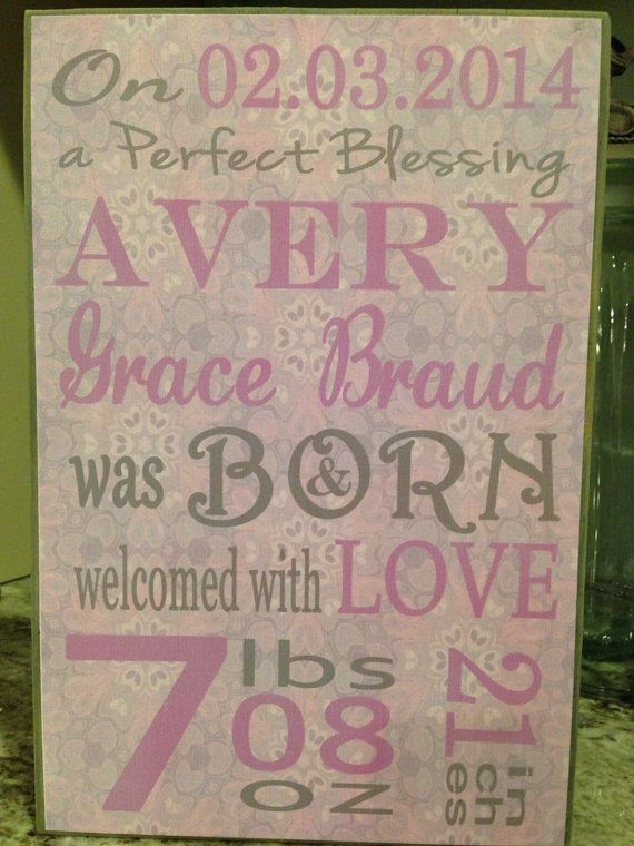 Wooden Birth Announcement Plaque Wood Block Baby Subway Art – Birth Announcement Plaques