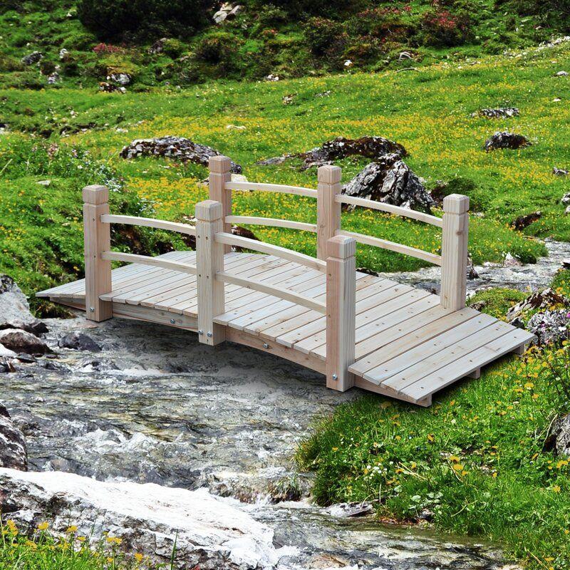 Loon Peak® Hinkle Garden Pathway Bridge, Wood in Natural Wood, Size 19