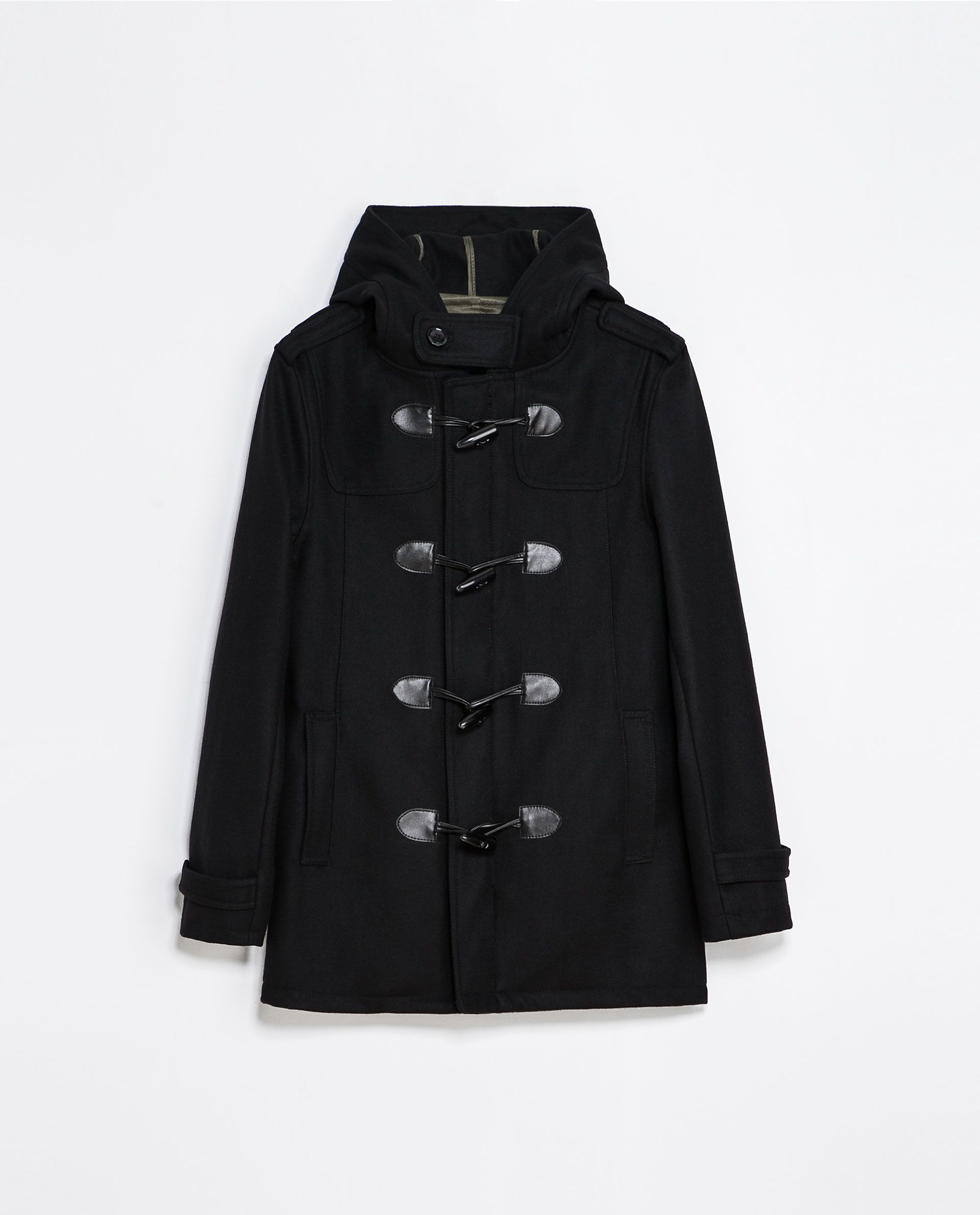 73afd6a2 Zara BASIC BLACK DUFFLE COAT Ref. 6593/362 179.00 CAD OUTER SHELL 60% WOOL,  34% POLYESTER, 2% ACRYLIC, 2% POLYAMIDE, 2% VISCOSE LINING 55% POLYESTER,  ...