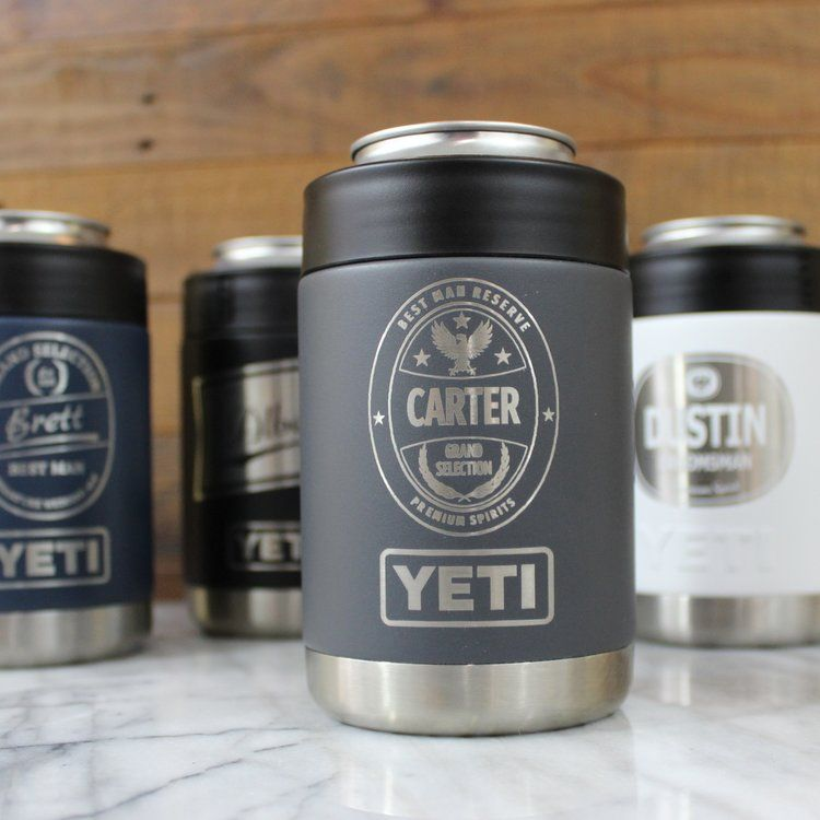 Wedding Gifts For Ushers And Best Man: YETI Colster With Craft Groomsmen Wedding Label