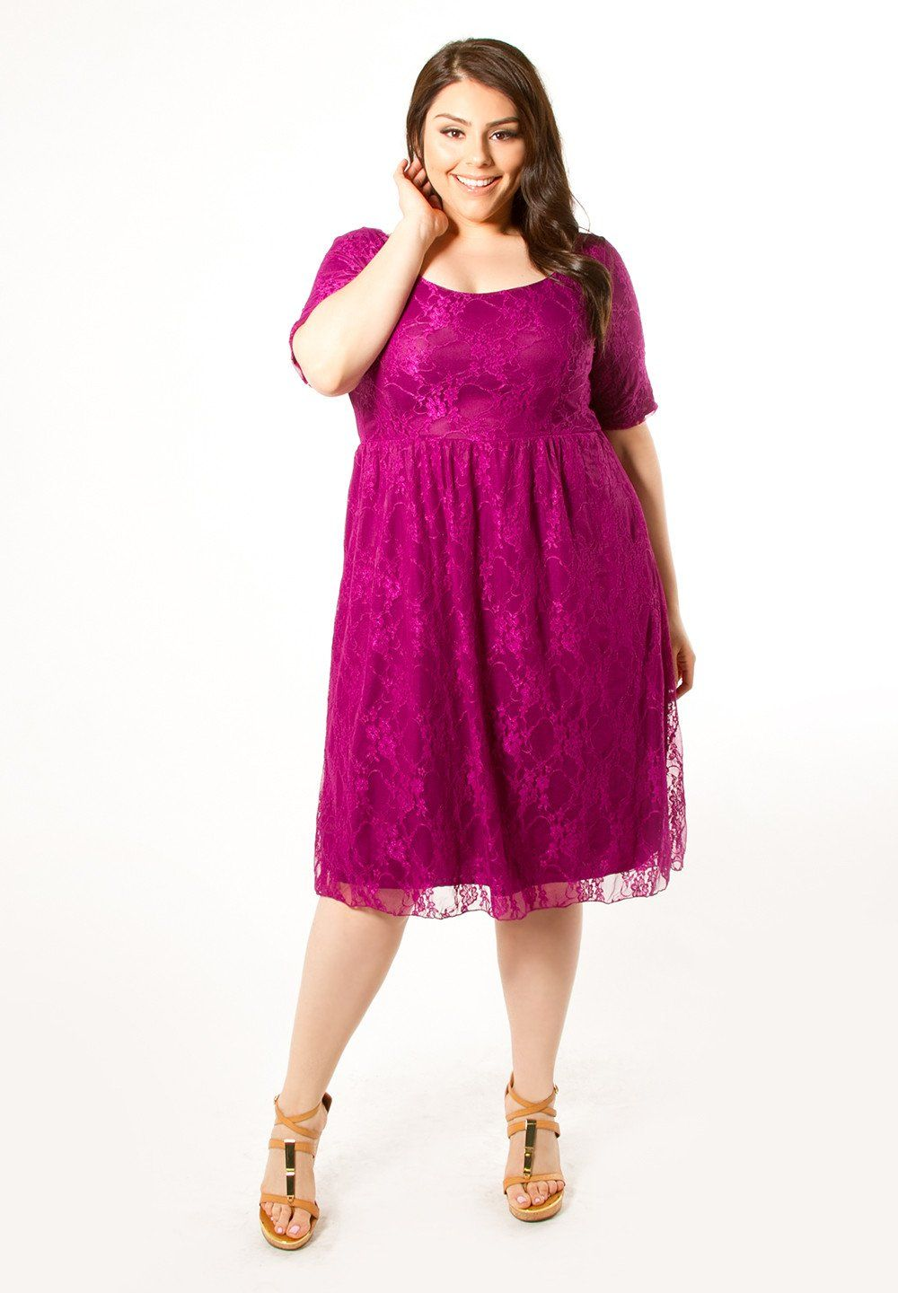 Plus Size Dress:: Kara Lace Dress Magenta :: Curvalicious Clothes ...