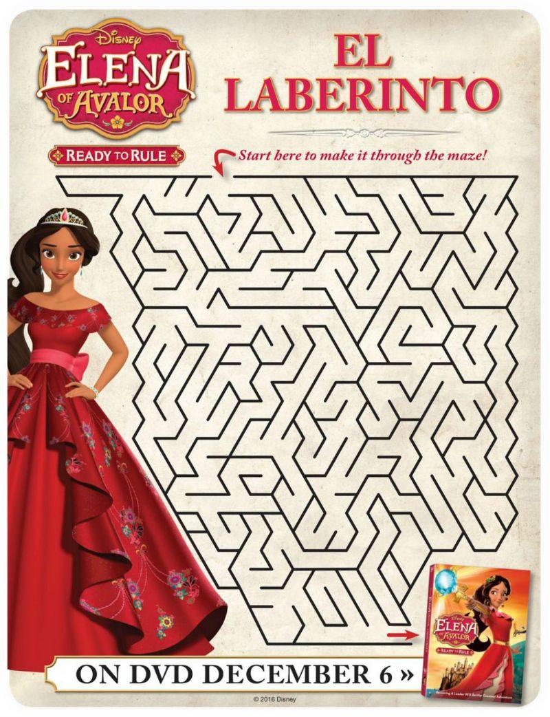 Disney Elena Of Avalor Free Printable Maze Disney Elena Free Disney Coloring Pages Mazes For Kids Printable [ jpg ]