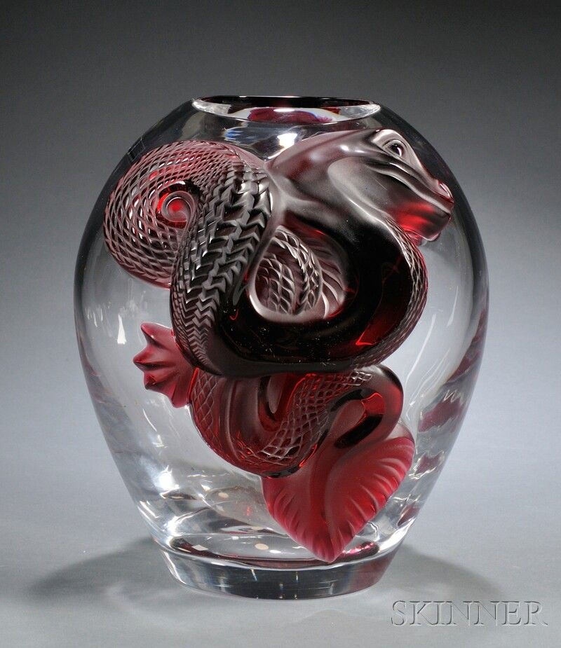 LALIQUE COLLECTORS EDITION RUBY DRAGON VASE, ART GLASS, SWOLLEN CLEAR GLASS BODY WITH TWO APPLIED RUBY GLASS DRAGONS, MARKED RUBRIS - Skinner Inc