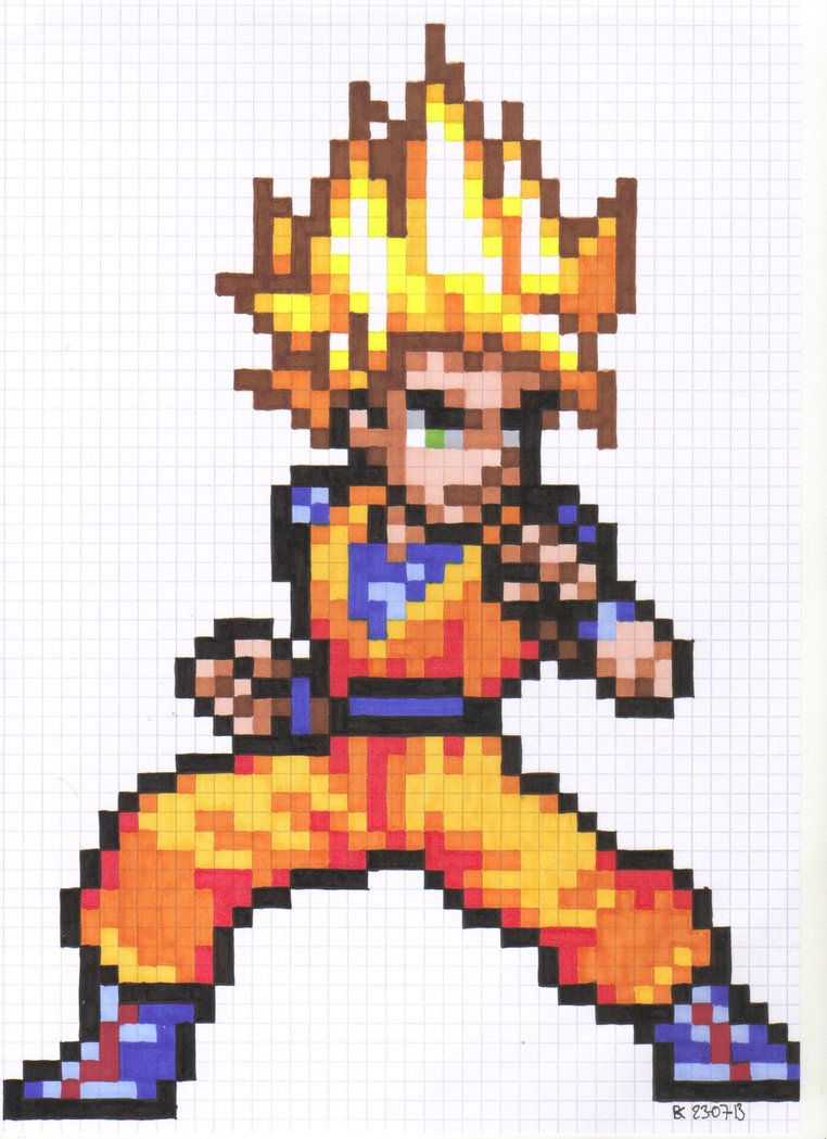 Goku Pixel Art By Hidemaniacdeviantartcom On At Deviantart