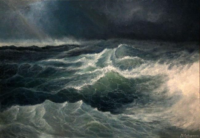 Oil on canvas stretched on carton. Painting of a storm in ...