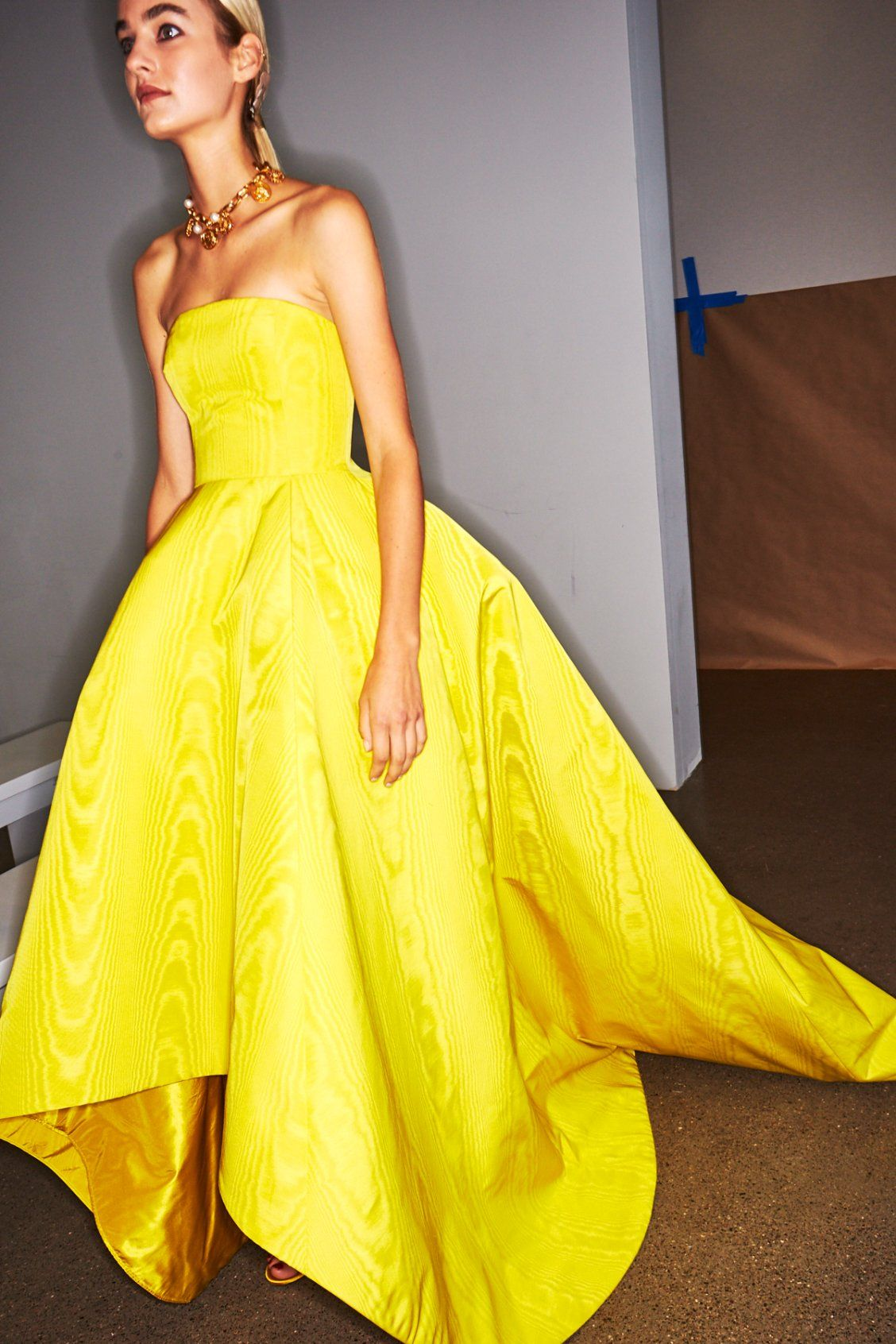 Yellow Strapless High Low Ball Gown By Oscar De La Renta Ss19 Fashion High Low Ball Gown Dresses [ 1692 x 1128 Pixel ]