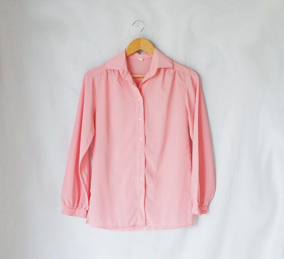 Vintage Blouse // Pink Button Up Shirt // Long Sleeves // Secretary Blouse// Pale Pink Shirt
