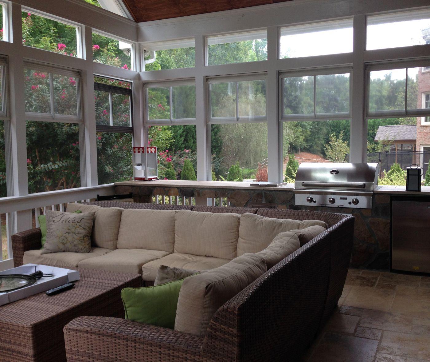 3 Season Porch In Wake Forest With Outdoor Kitchen 3 Season Room Porch Windows Porch Design