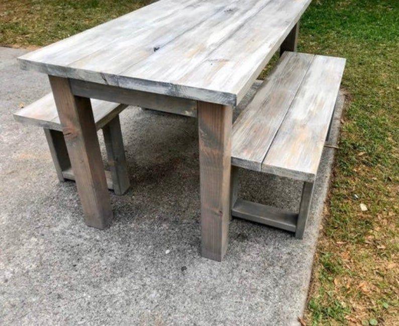 Small Narrow Farmhouse Table and Benches Gray White Wash