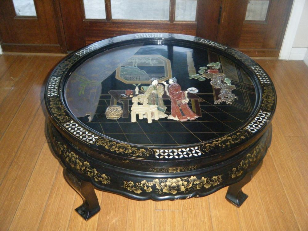 Vtg antique chinese black lacquer low coffee table japan for Chinese black lacquer furniture