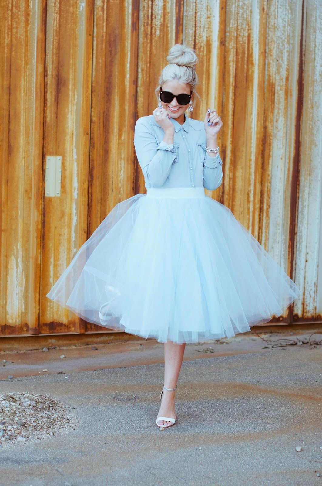 Fabulous tulle tutu style skirt, laid back chambray, statement earrings, strap heels