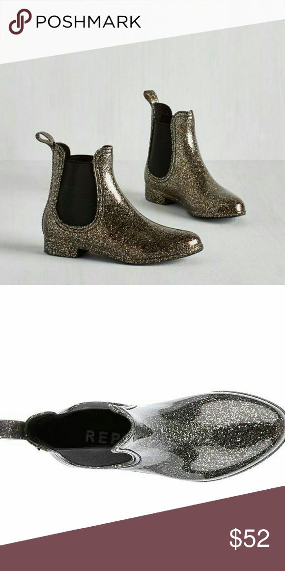 84132e53405 Report silver glitter rubber rain Chelsea boots Super cute glittery rain  boots. I love these
