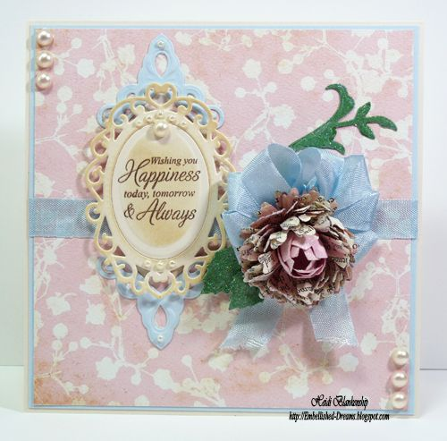 Shabby Chic Flower Card -  using @Spellbinders Jewel Fowers and Flourishes by Heidi Blankenship