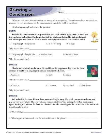 Drawing Conclusions Worksheets For 4th Grade Summer Learning