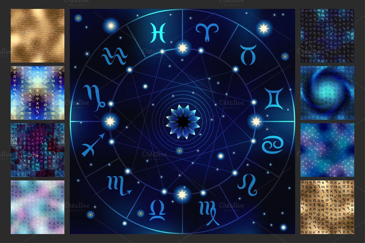 Astrology set seamless patterns zodiac circle