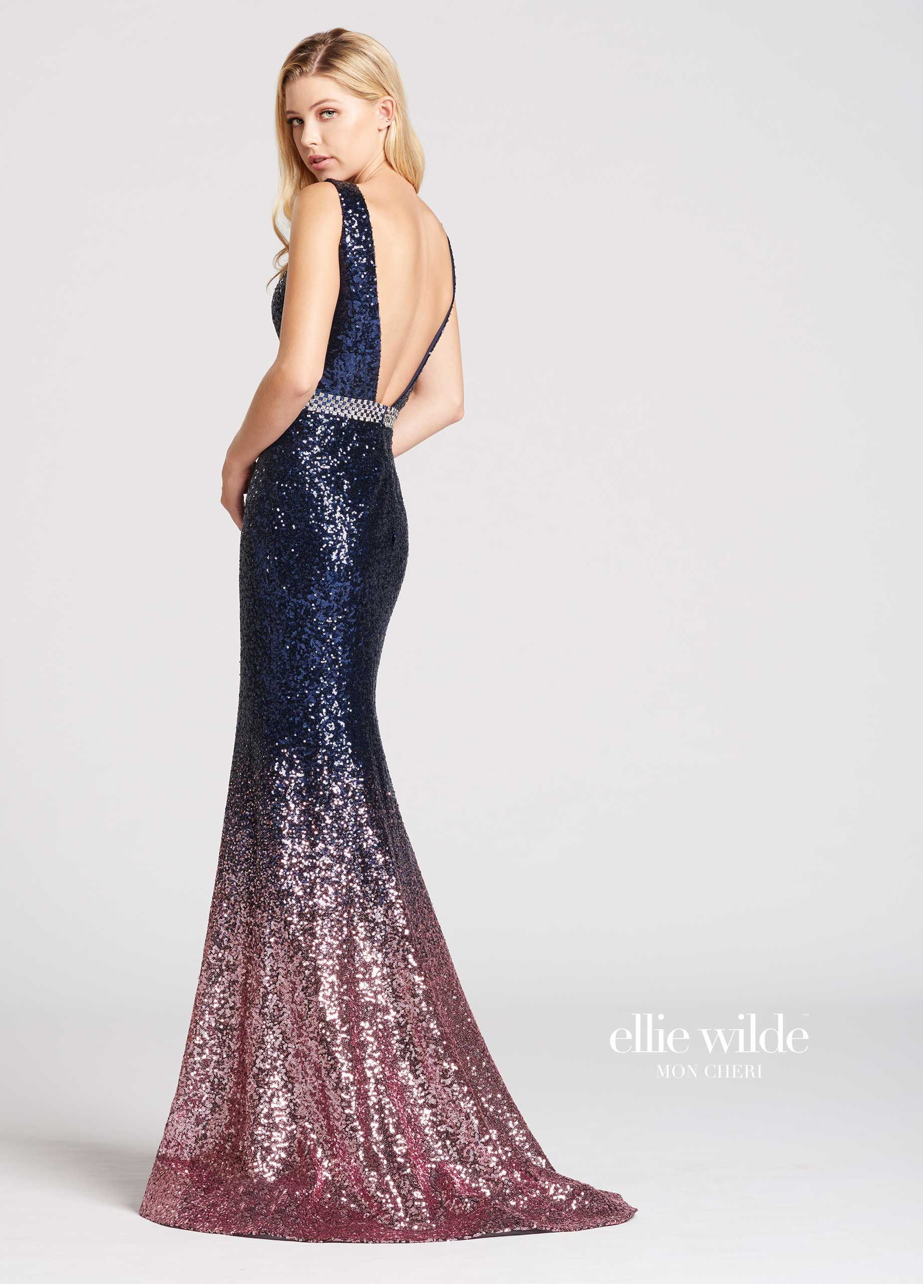 4930064652 Ombre Sequin Mermaid Prom Dress with V-Neck- EW118047 in 2019 ...