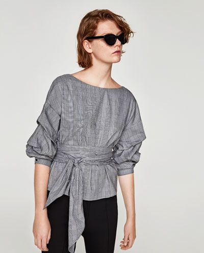 5b117fbdd34 Imagen 5 de BLUSA CUADROS CRUZADA de Zara Camisas Mujer Zara, Blusas  Cuadros, Blusas