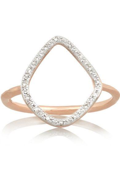 Riva Rose Gold Vermeil Diamond Ring - K Monica Vinader 5mSKxqTkg1