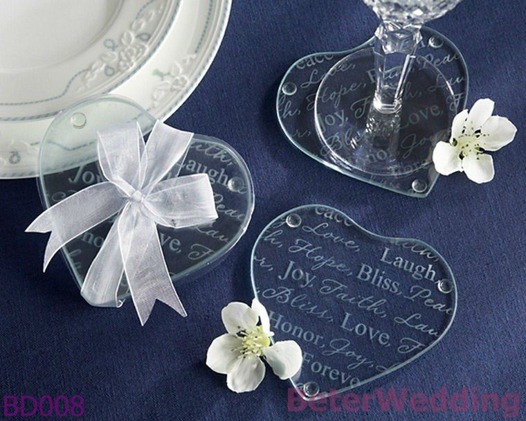 Weddings Good Wishes Heart Glass Coaster BD008 Event Souvenir Party Favor BeterWedding