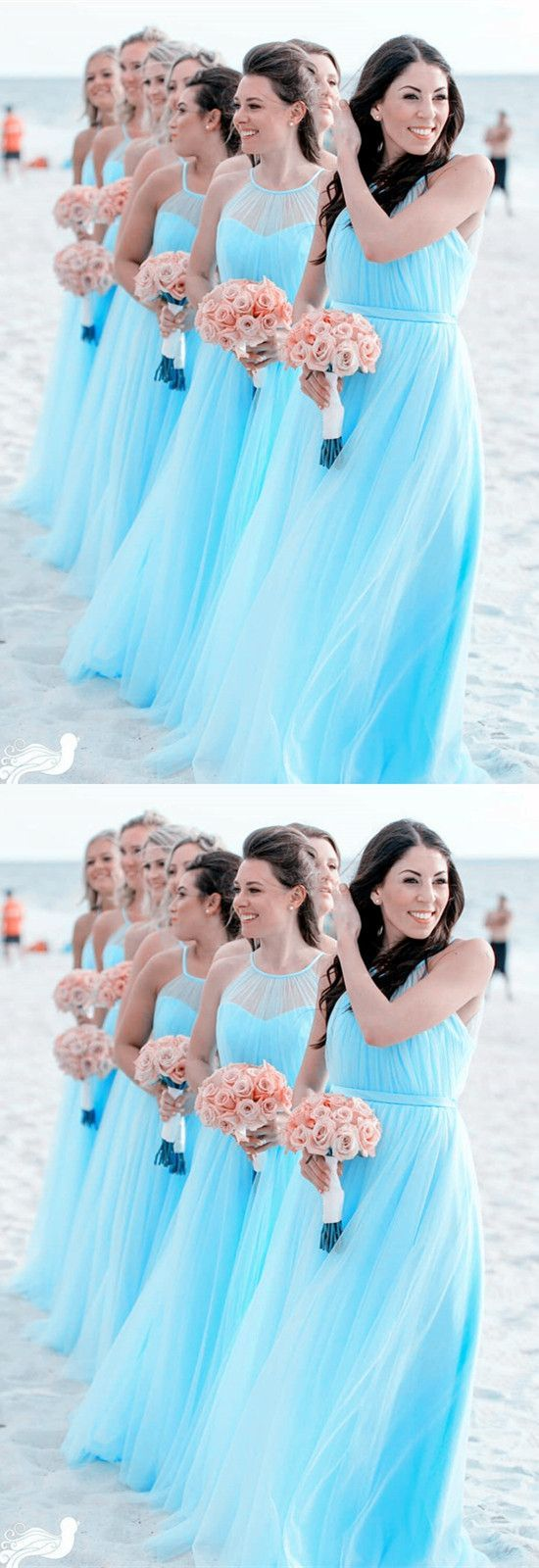 Elegant long tulle halter bridesmaid dresses for beach wedding m