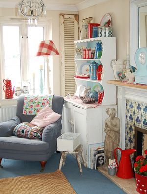 Exceptional The Cottage Market: Take Aqua And Red Cottage Style Decor Thankfully Have A  Neutral Warm Tan Rug Instead Of Blue. Love The Chair!