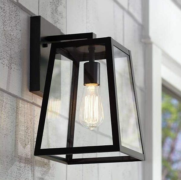 LEODEGRANCE Transitional 1 Light Black Outdoor Wall Sconce