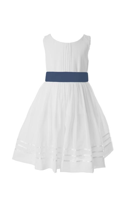 631f659f435 White Flower Girl Dress with Military Blue Sash available in 37 colours by  Matchimony