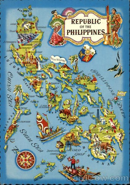 Republic of the philippines map from vintage postcard roots republic of the philippines map from vintage postcard gumiabroncs Images