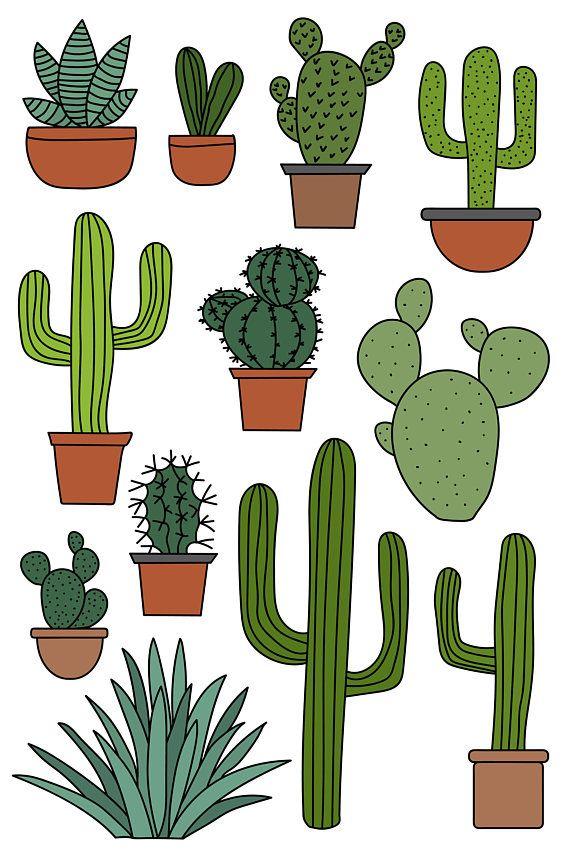 cactus clipart set hand drawn clip art illustrations of