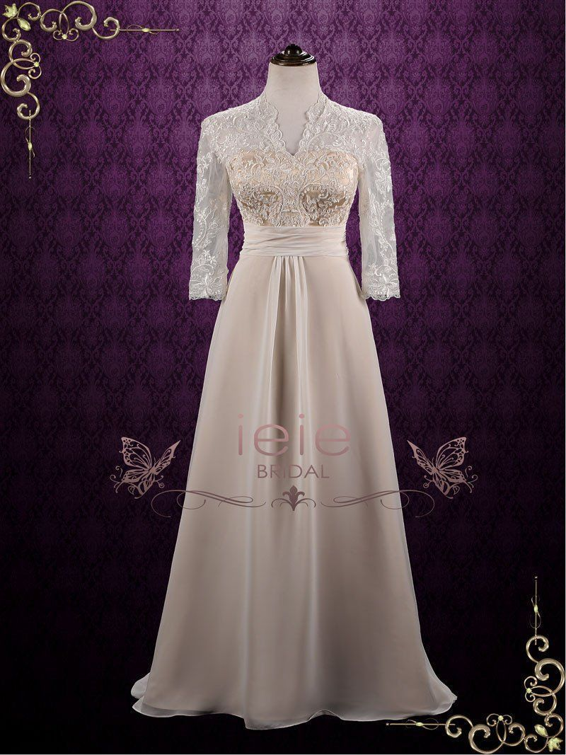 Long lace sleeve wedding dress  Vintage style chiffon wedding dress with elegant lace bodice and