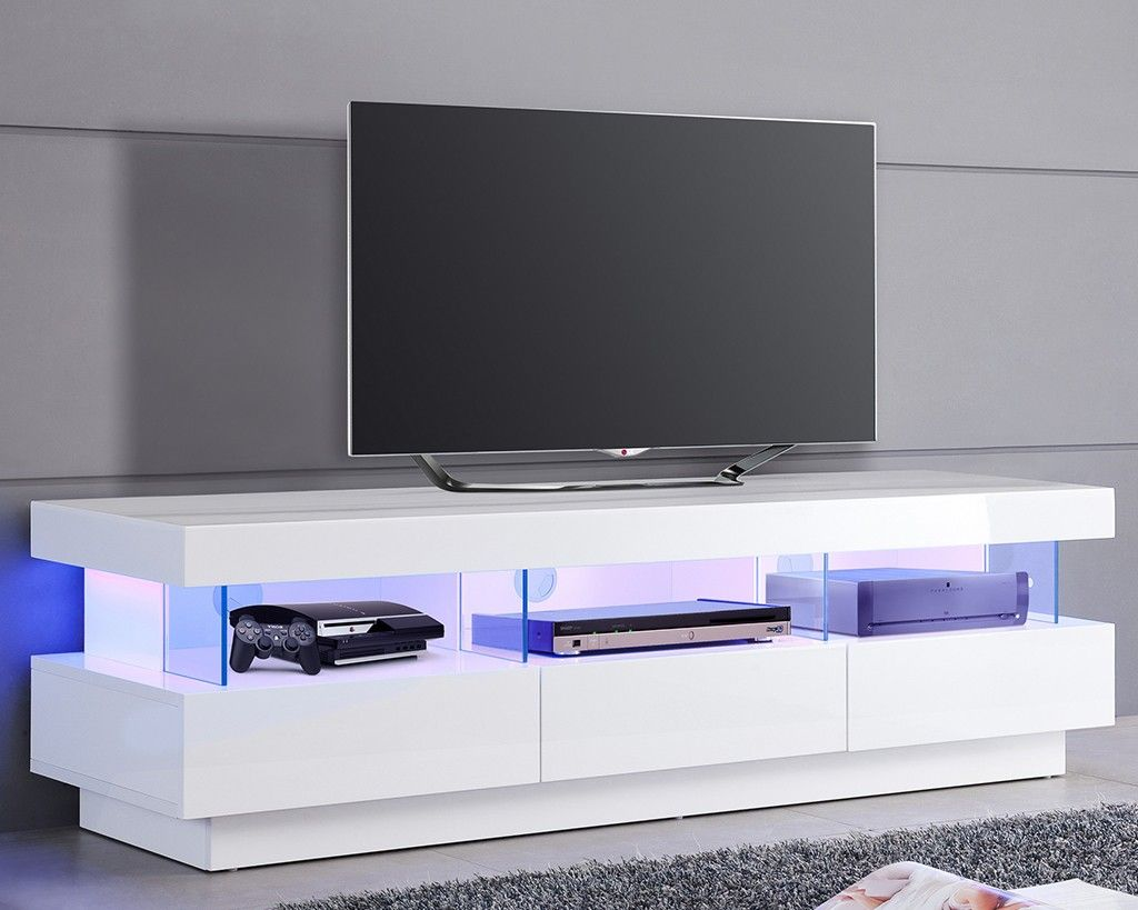 meuble tv design blanc avec clairage led int gr id es. Black Bedroom Furniture Sets. Home Design Ideas