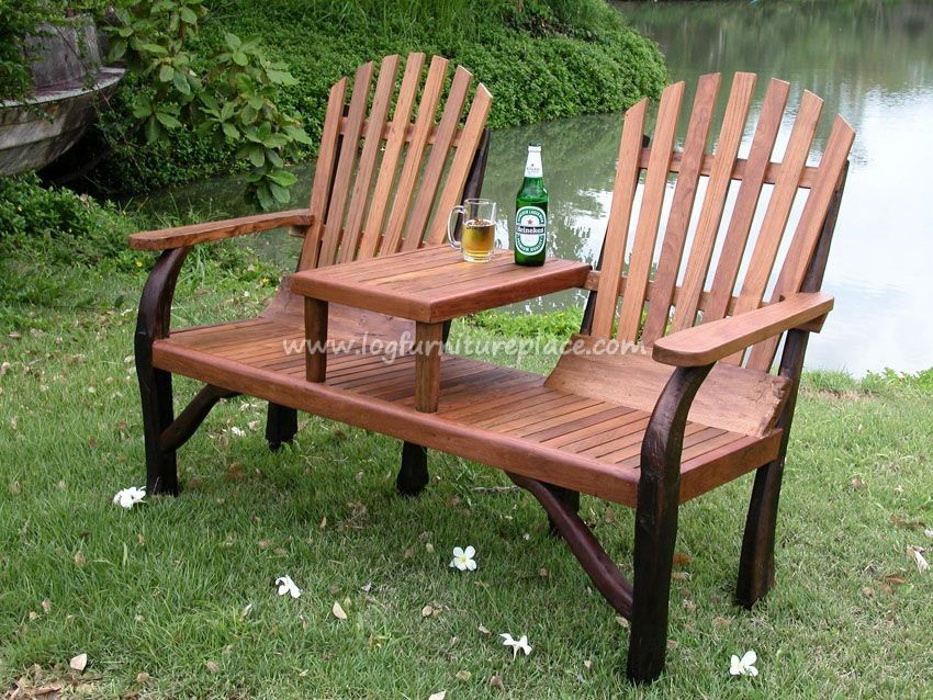 Teak Wood Adirondack Tete A Tete   Outdoor U0026 Patio Log Furniture