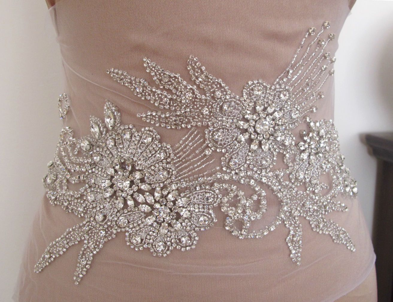 Rhinestone applique for wedding dress bridal gown applique for Rhinestone sashes for wedding dresses
