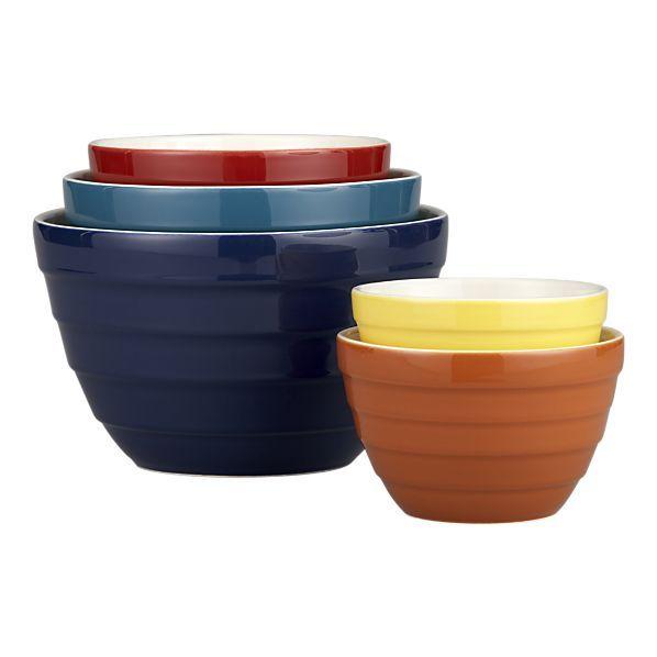 5 Piece Parker Bowl Set Crate Barrel Mixing Bowls Bowl Colorful Bowls