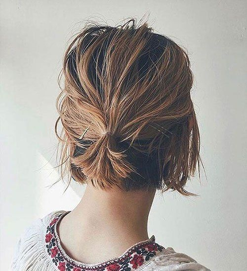 Ideas Of Cute Easy Hairstyles For Short Hair Short Hair Bun