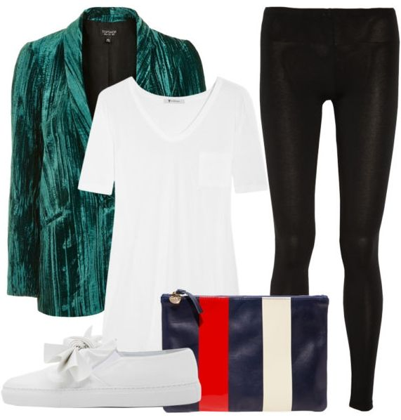 Ditch the LBD and opt for an alternative evening outfit with a rich velvety jewel-toned blazer to instantly upgrade the simple staple. Add a contrasting vibe of tomboy cool via a slouchy tee and slip-on sneakers. Crinkle Velvet Blazer, Topshop $125 Classic Slub Jersey T-Shirt, T by Alexander Wang $90 Super Flat Clutch, Clare V. $215 Faux Leather Sneakers, Cedric Charlier $365