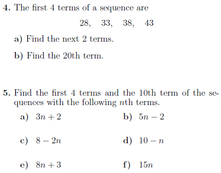 Sequences Worksheet With Solutions Worksheets Math Worksheet Solutions