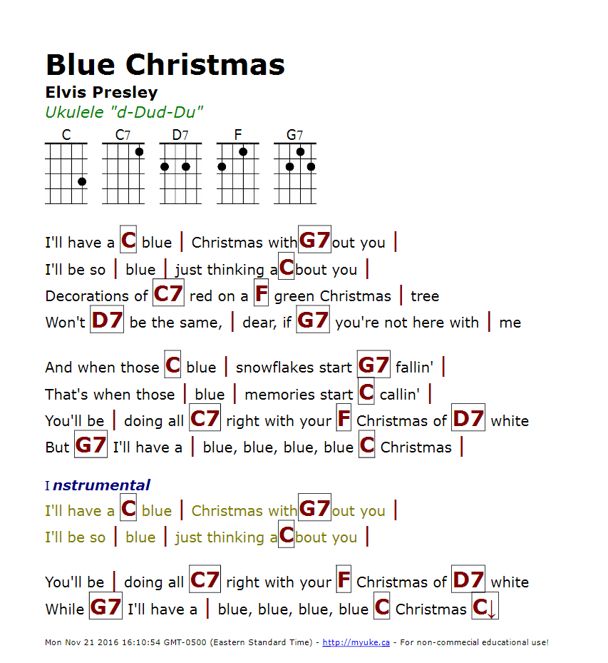 Blue Christmas Ukulele Chords Christmaswalls