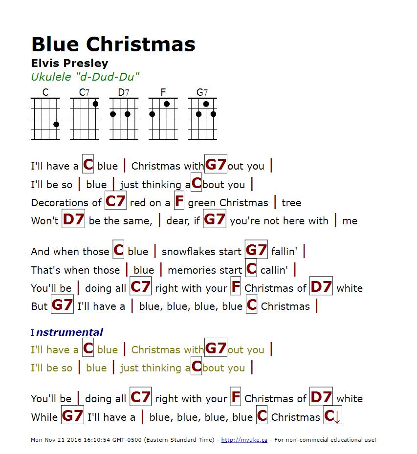 Blue christmas elvis presley httpmyuke ukulele guitar chords hexwebz Image collections