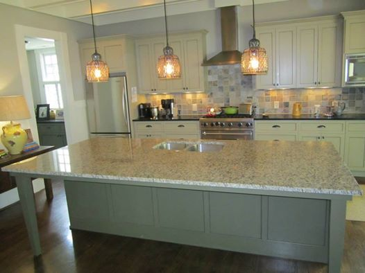 Santa Cecilia Granite On Sage Green Cabinets Residential