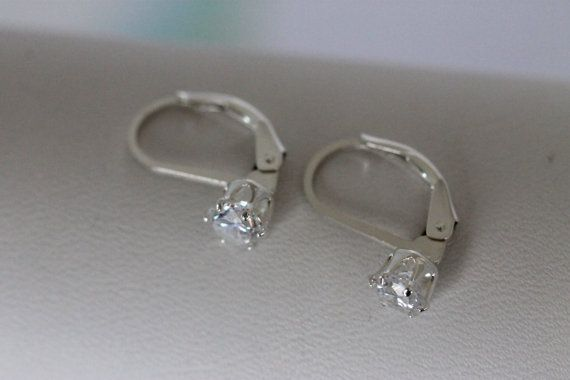 Simple Faux Diamond Dangle Earrings Solitaire Cubic By Three 23 50